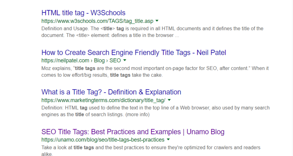 title tag search view