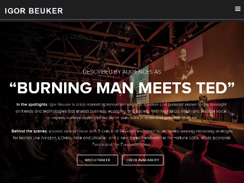 "Igor Beuker Keynote Speaker – Rated as ""Burning Man Meets TED"" – Top marketing innovation keynote speaker"